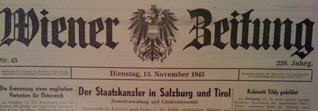 In the Hausarchiv: Wiener Zeitung, 13 November 1945